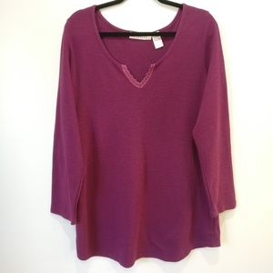 Roaman's Burgundy Long Sleeve Thermal Shirt Plus1X